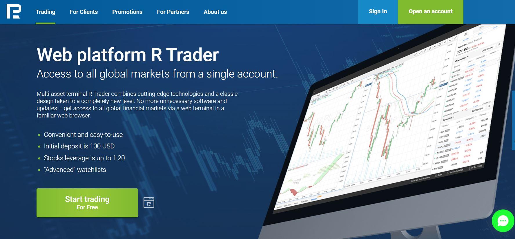 nền tảng R trader của Roboforex