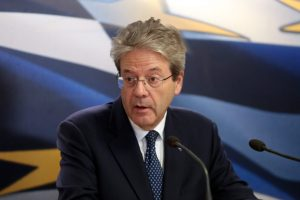 European Commissioner For Economy Paolo Gentiloni In Athens